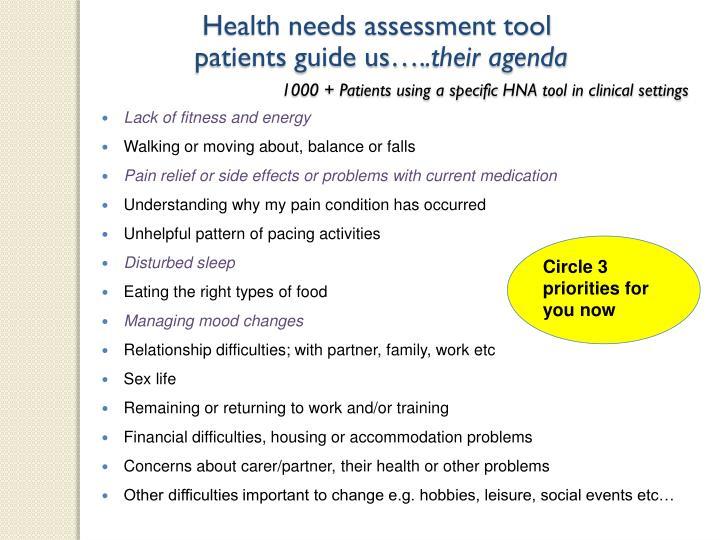 Health needs assessment tool
