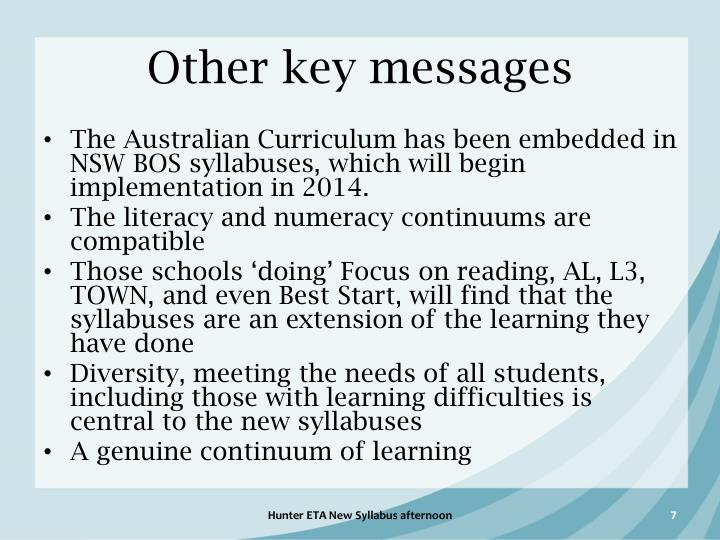 Other key messages