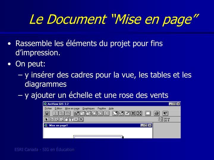 """Le Document """"Mise en page"""""""