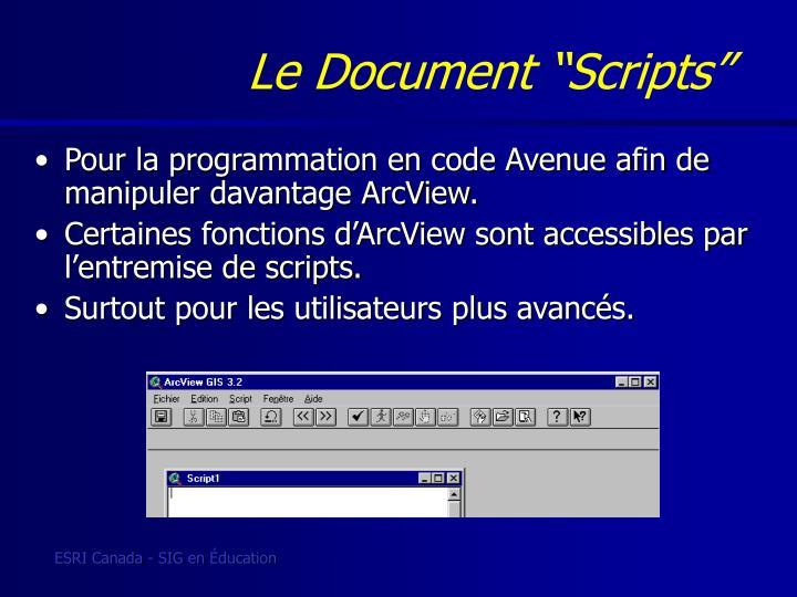 """Le Document """"Scripts"""