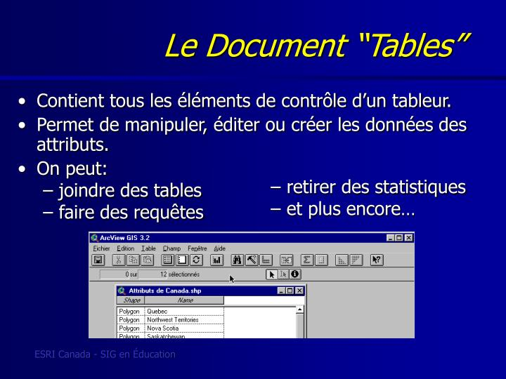 "Le Document ""Tables"""
