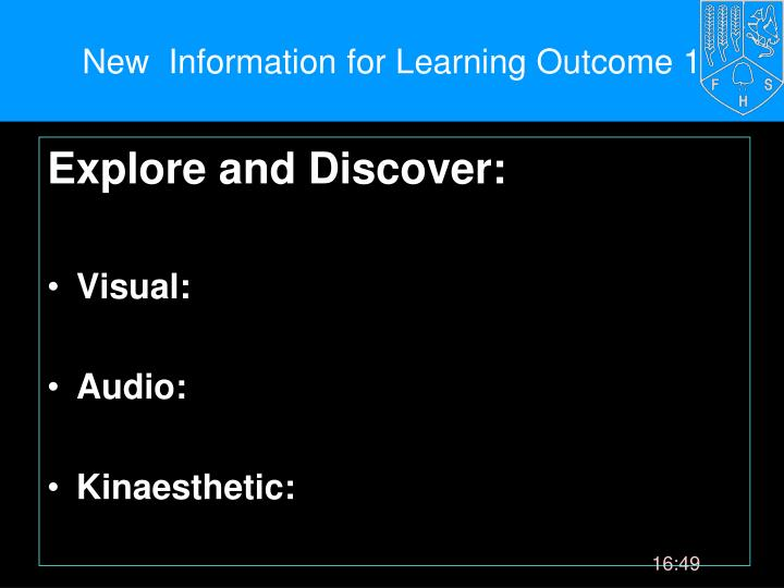 New  Information for Learning Outcome 1