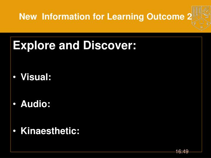 New  Information for Learning Outcome 2