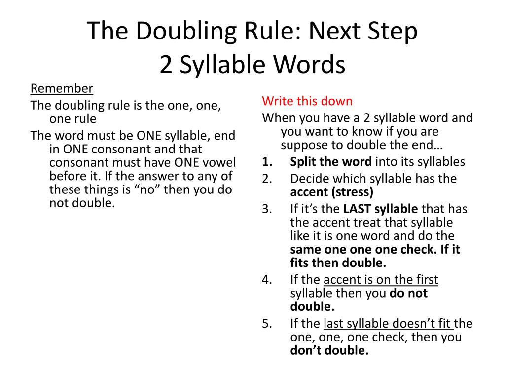 The Doubling Rule Next Step 2 Syllable Words N