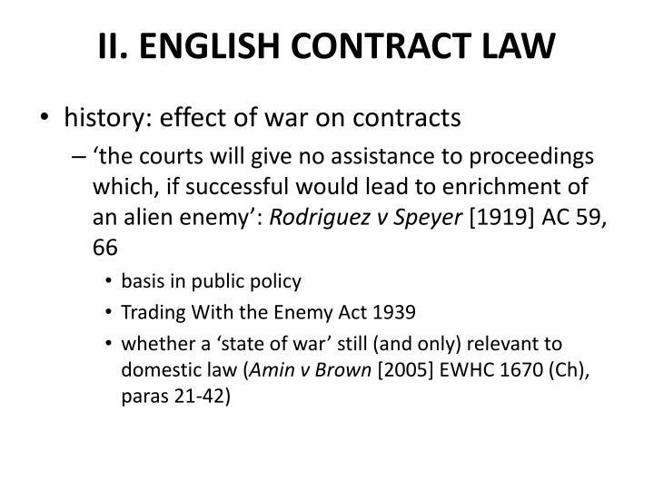 II. ENGLISH CONTRACT LAW