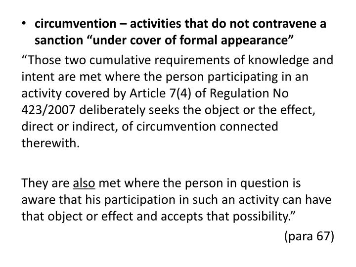 circumvention – activities that do