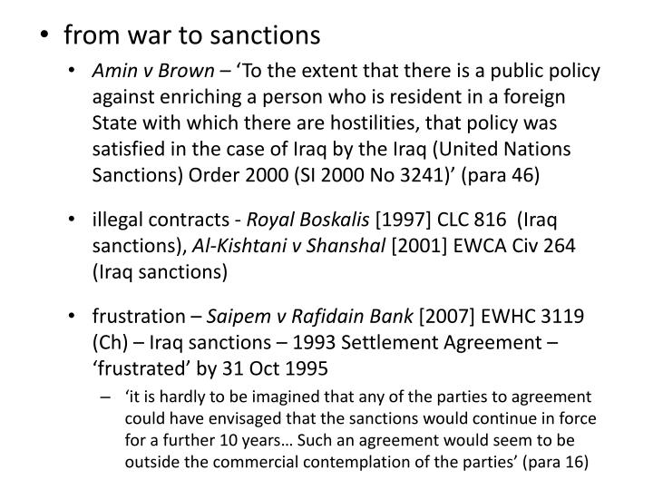 from war to sanctions