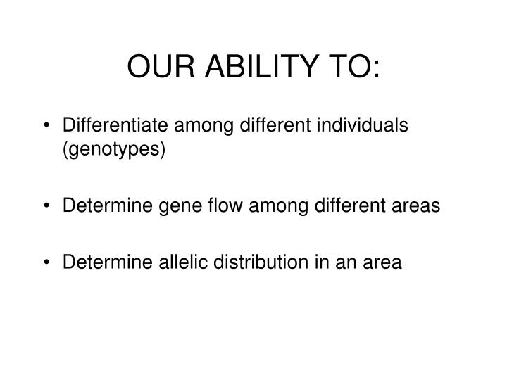 OUR ABILITY TO: