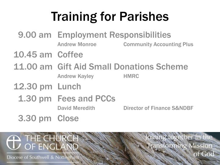 training for parishes n.