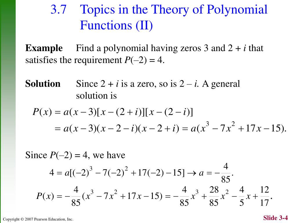 PPT - Chapter 3: Polynomial Functions PowerPoint