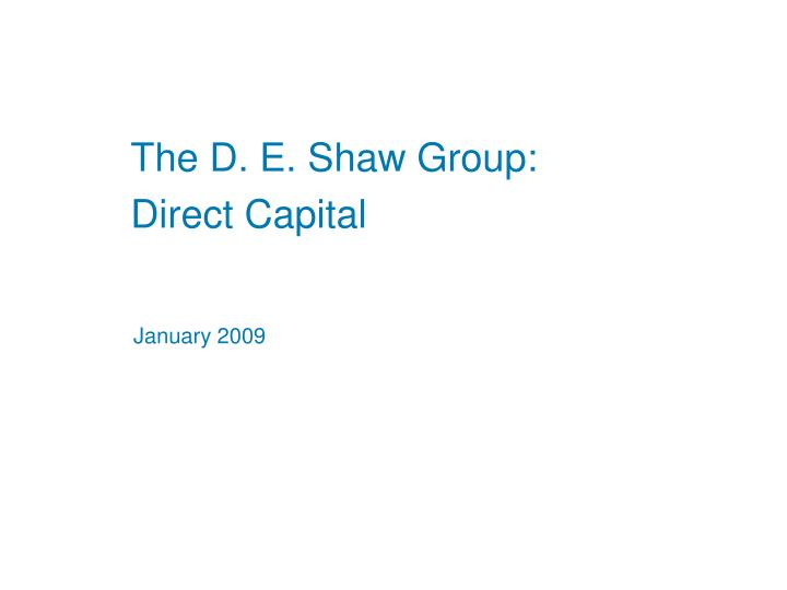the d e shaw group
