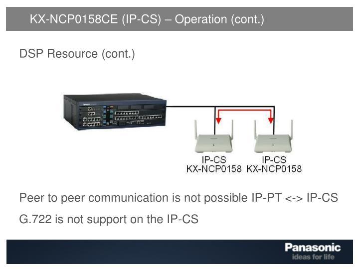 KX-NCP0158CE (IP-CS) – Operation (cont.)