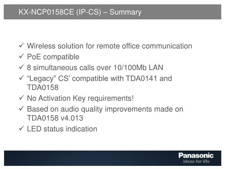 KX-NCP0158CE (IP-CS) – Summary