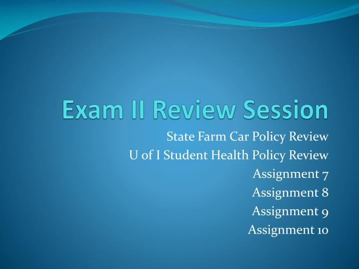 exam ii review session n.