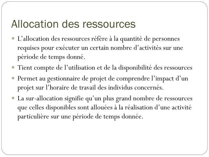 Allocation des ressources