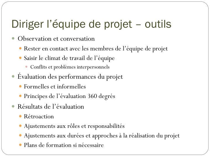 Diriger l'équipe de projet – outils