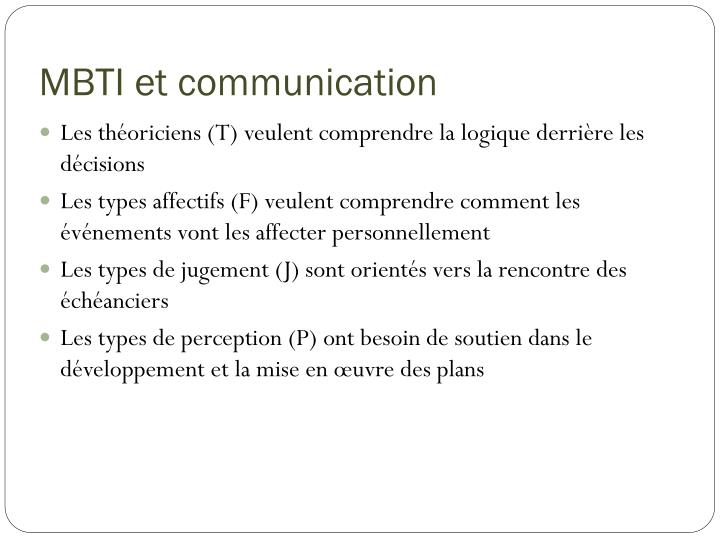 MBTI et communication