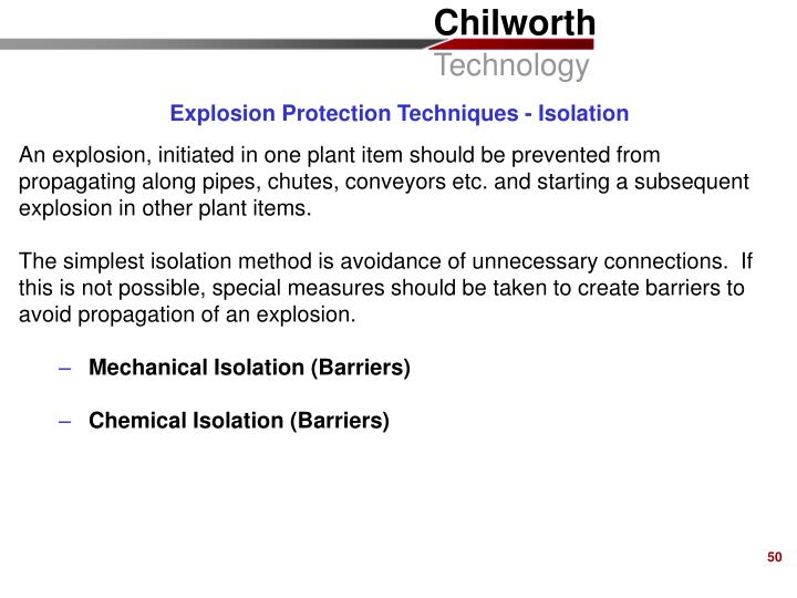 Explosion Protection Techniques - Isolation