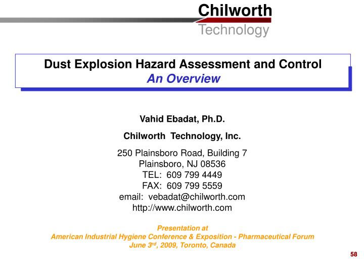 Dust Explosion Hazard Assessment and Control