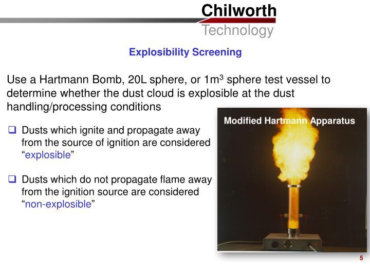 Explosibility Screening
