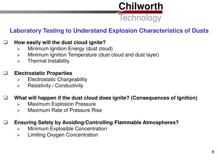 Laboratory Testing to Understand Explosion Characteristics of Dusts