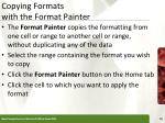 copying formats with the format painter