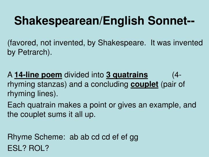 PPT - Shakespearean/English Sonnet-- PowerPoint Presentation - ID