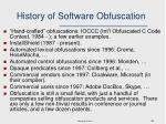 history of software obfuscation