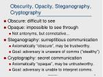 obscurity opacity steganography cryptography