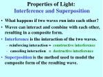 properties of light interference and superposition