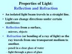 properties of light reflection and refraction