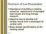overview of last presentation