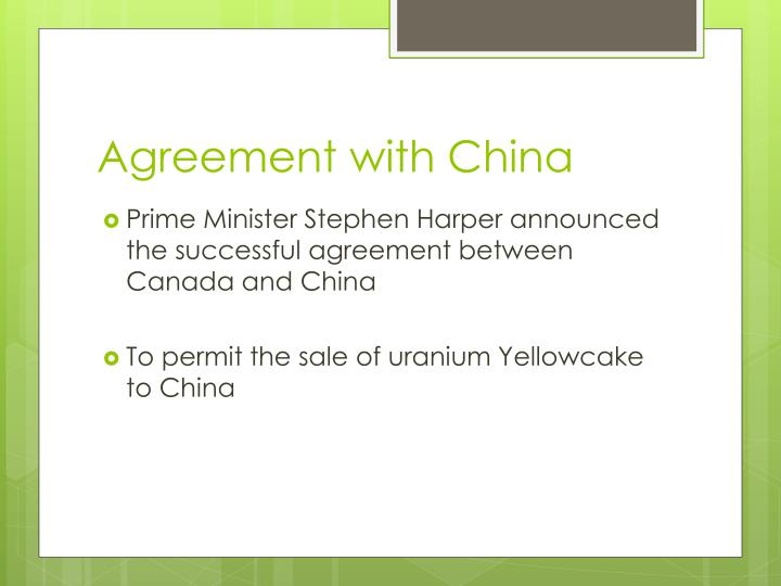 Agreement with China