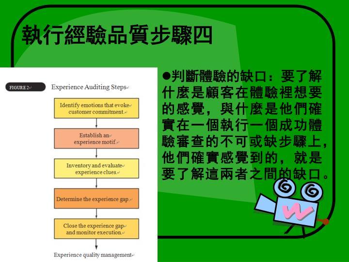 執行經驗品質步驟四
