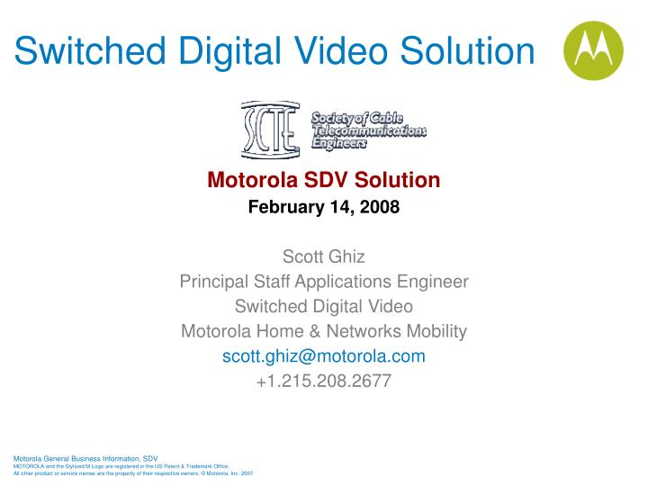 switched digital video solution n.
