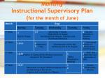 monthly instructional supervisory plan for the month of june
