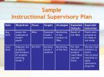 sample instructional supervisory plan