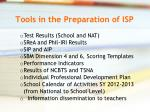 tools in the preparation of isp