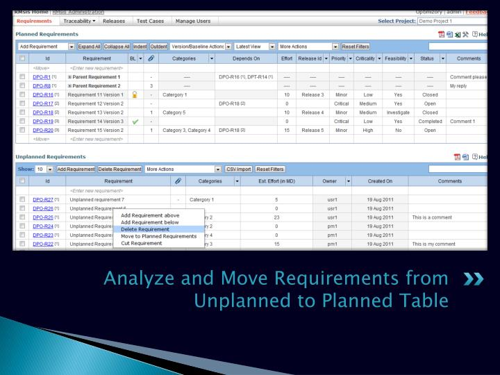 Analyze and Move Requirements from Unplanned to Planned Table