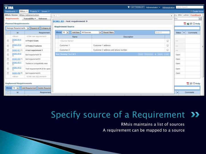 Specify source of a Requirement