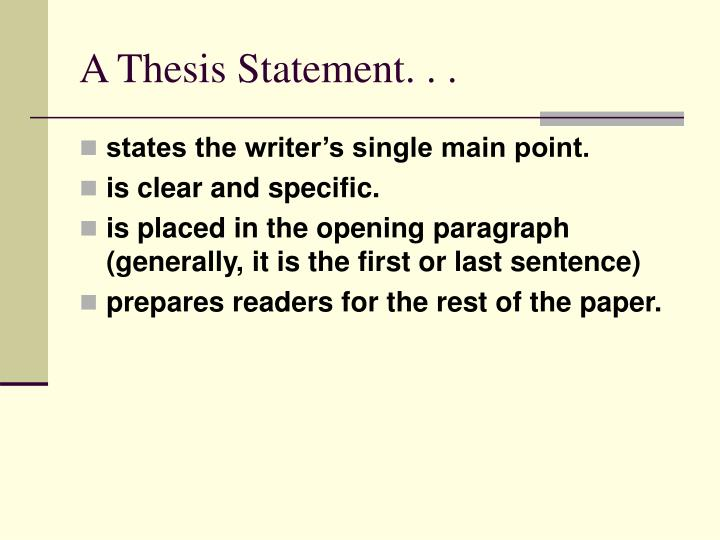 a thesis statement n.