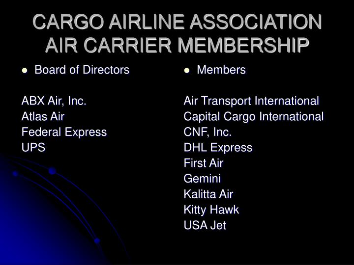 Cargo airline association air carrier membership
