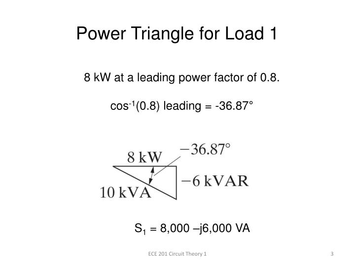 Power triangle for load 1