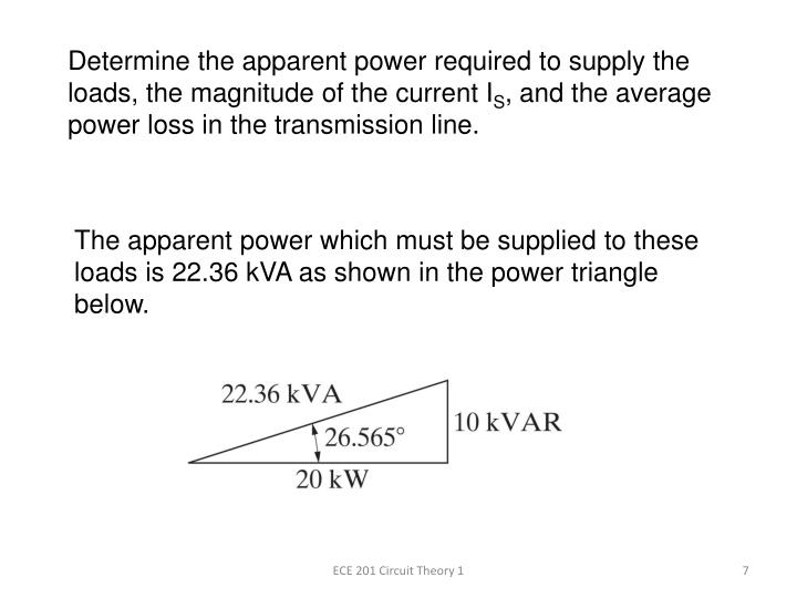 Determine the apparent power required to supply the loads, the magnitude of the current I