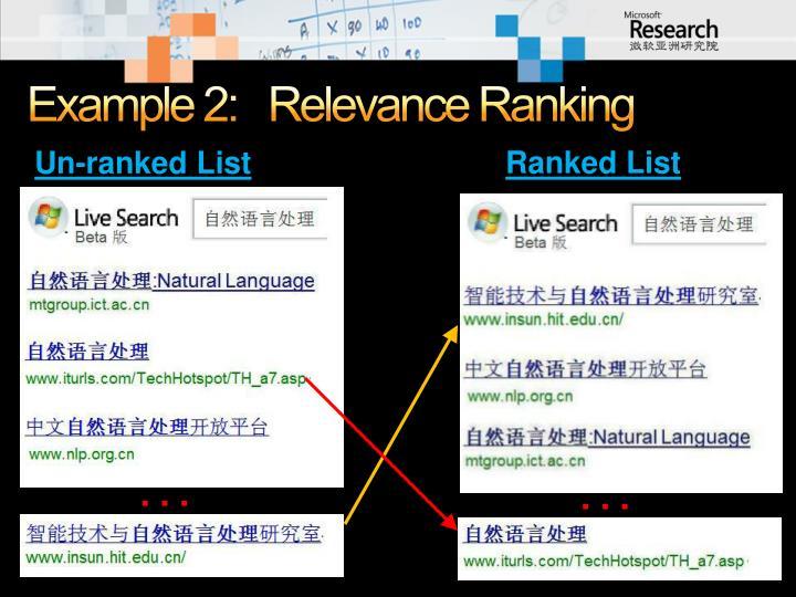 Example 2:   Relevance Ranking