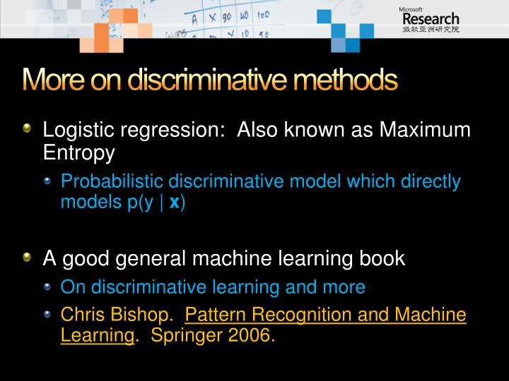 More on discriminative methods