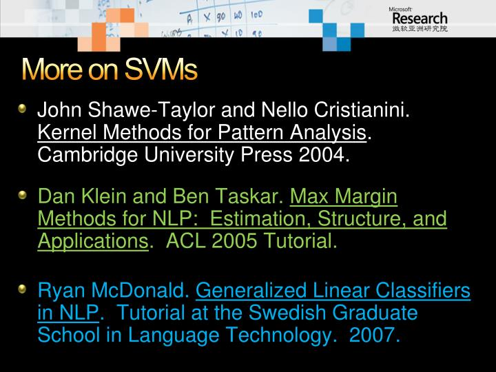 More on SVMs