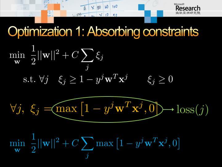 Optimization 1: Absorbing constraints