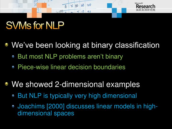 SVMs for NLP