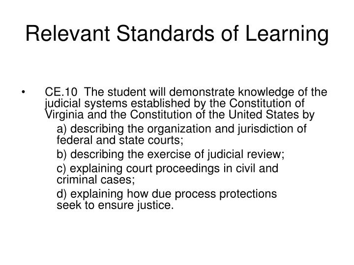 Relevant standards of learning